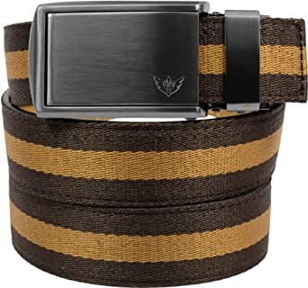 SlideBelts Canvas Belts (Brown/Tan with Winged Gunmetal Buckle)
