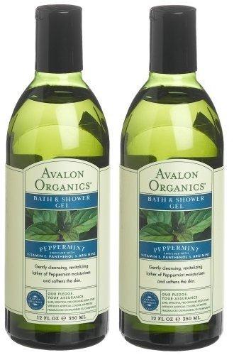 Avalon Organics Peppermint Bath And Shower Gel, 12-Ounce Bottle (Pack of 2) (Organics Peppermint Bath Avalon)