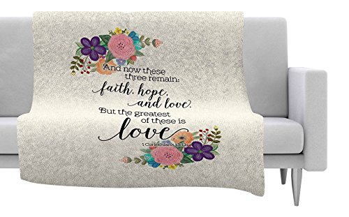 KESS InHouse Noonday Design''Faith, Hope, and Love'' Beige Multicolor Fleece Throw Blanket, 80 by 60-Inch, 80'' X 60'''' by Kess InHouse