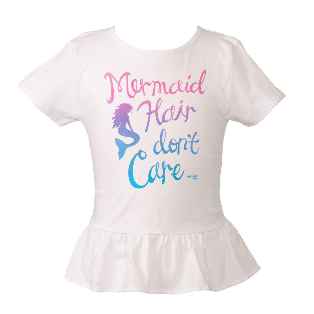 Fin Fun Mermaid Girls Mermaid Hair Don't Care Peplum Tee
