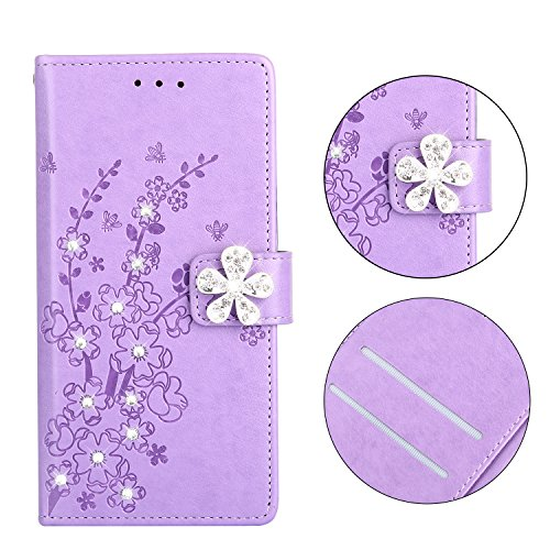 Maoerdo iPhone SE Case,Embossed Plum Flowers Wallet [Bracket Chuck] 3D Handmade Bling Crystal Diamond PU Leather Shockproof Protective Cover for Apple iPhone 5S / iPhone 5 / iPhone SE - Violet