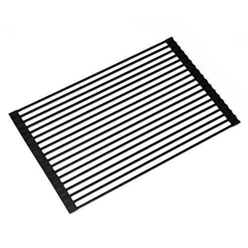 Kraus KRM-10BLACK Multipurpose Over Sink Roll-up Dish Drying Rack, Black (Multi Purpose Rack)