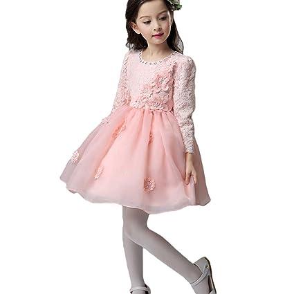 356d7e426e08 Abito per Bambini Ragazze Elegante Pizzo Lungo Vestito de  Matrimonio Cerimonia Partito Festa Compleanno Sera Abiti Inverno e Autunno  Vestito Rosa 110  ...
