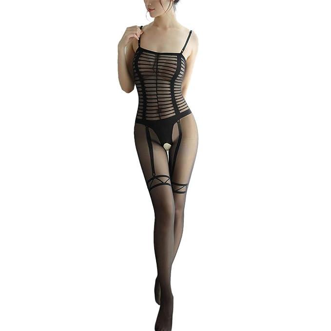 f4c1bd289d3 Sheer Women Lingerie Sexy Teddy Fishnet Open Crotch Body Stocking Bodysuit  Nightwear (A