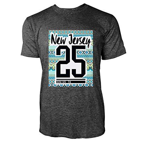 SINUS ART® New Jersey 25 mit Ethno Hintergrund Herren T-Shirts in dunkelgrau Fun Shirt mit tollen Aufdruck