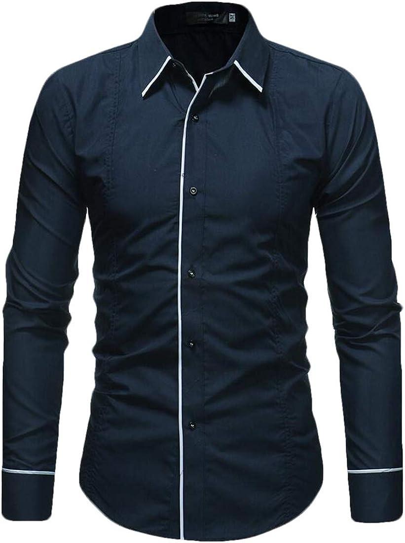 heymoney Mens Shirts Classic Slim Long Sleeves Button Down Business Dress Shirt