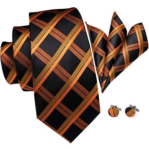 Hi-Tie Back Orange Tie Silk Check Plaid Necktie Set Woven Silk Tie Pocket Square and Cufflinks set