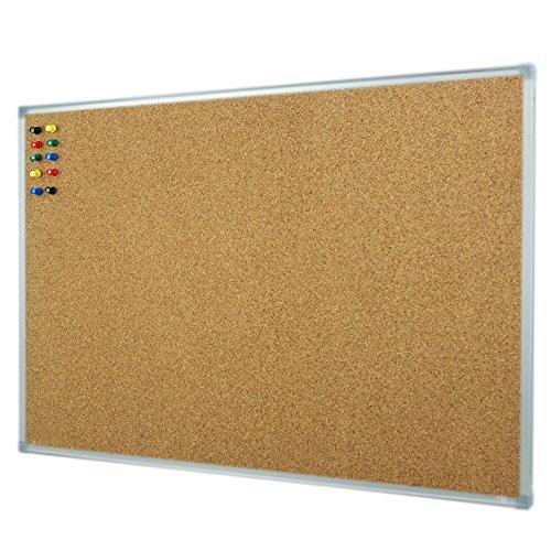 Lockways Cork Board Bulletin Board - Double Sided Corkboard 36 X 24 Notice Board 3 X 2 - Silver Aluminium Frame U12118762609 for School, Home & Office (Set Including 10 Push Pins) (24 x 36, Silver) -