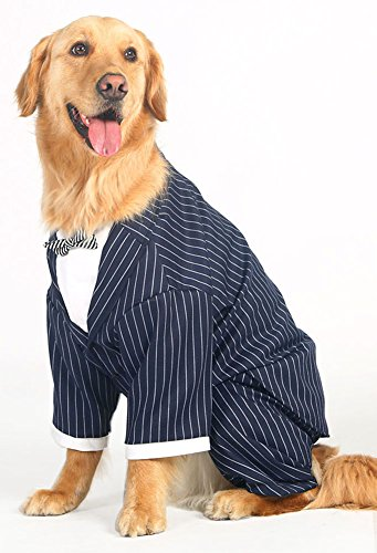 MaruPet Navy Wind Couture Formal Tuxedo with Striped Tie Costume Company Business Suit for Golden Retriever, Husky, Samoyed, Border Collie (Halloween Costumes For Border Collies)