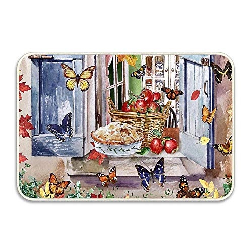 Scenery Pie Painting Art Artwork Apple Autumn Apples and Mothss Non-Slip Mat 16x24 inch Doormat Non-Slip Rug Kitchen Dining Living Hallway Bathroom Pet Entry Rug