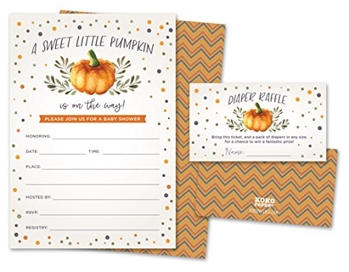 Sweet Little Pumpkin on The Way Rustic Fall Baby Shower Invitations and Diaper Raffle Tickets in Autumn Colors, Fall Leaves, Chevron Stripes. Set of 25 Fill in Style Cards, Envelopes, Raffle Tickets -
