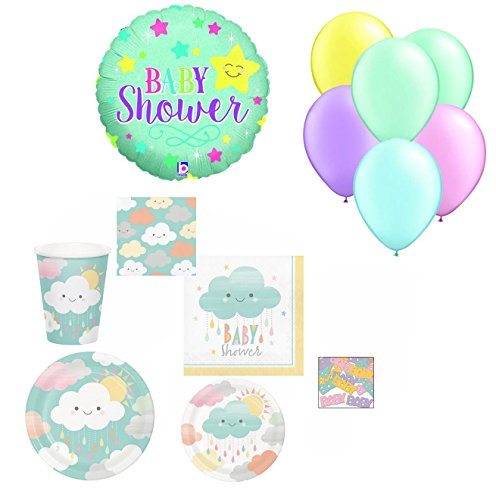 Bombay Bongo Baby Shower Party Supplies Decorations for 32 - Gender Neutral Plates Napkins Cups Balloons Confetti Bundle of 168 (Pearl Beverage Napkins)