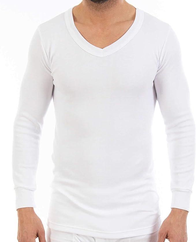 Pack Ahorro de 6 Unidades - Camiseta Interior Termal de Hombre, de Manga Larga y Cuello de Pico. Modelo L101V, colección Thermal, Color Blanco. Misma Talla y Color.: Amazon.es: Ropa y accesorios
