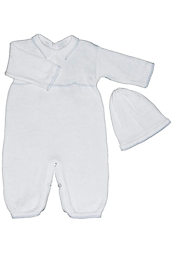b2c6ff81c Amazon.com: Baby's Trousseau Boys White & Blue Collared Romper w/Hat  A268-No Cross: Clothing
