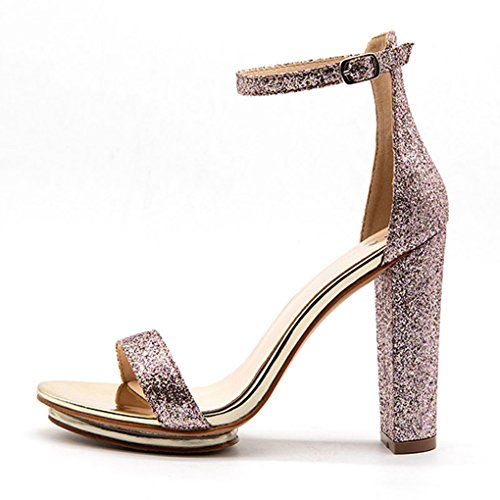 Dovaly Women Sandals Shiny Sequined Coarse Heel Open Toe Buckle Sexy Gladiator Party High Heels