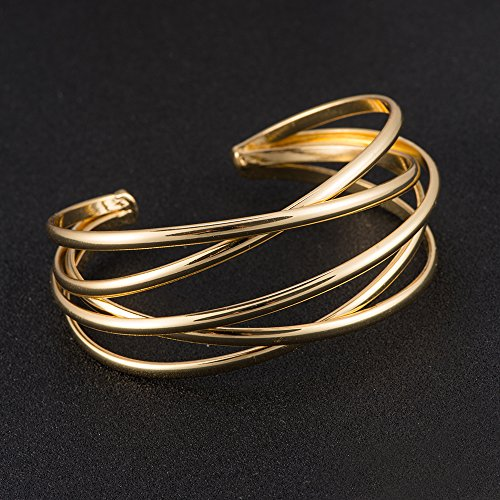 BEICHUANG Multi-layer Ancient Bronze Wire Cross Hollow Out Retro Ethnic Puck Adjustable Bangle Charm Bracelet (Gold1) by BEICHUANG (Image #1)