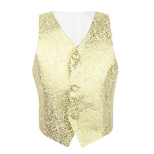 iiniim Kids Boys Dress Vest Waistcoat Gentleman Wedding Birthday Party Formal Suits Gold 12-14 ()
