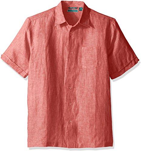 Cubavera Men's Tall Short Sleeve 100% Linen Cross-Dyed Button-Down Shirt with Pocket, Emberglow 3X-Large -