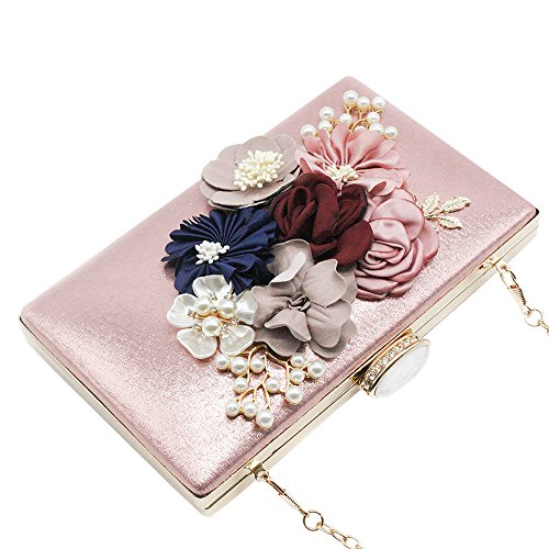 Wiwsi Black Prom Evening Purse Floral Clutch Handbag Box Pink Women Hard Bag Bridal Lady 7xnwfAqr7