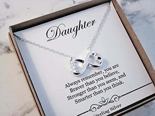 Daughter Necklace - for Graduation, Birthday, Wedding or Special Occasion Gifts from mom or dad - Infinity Heart Pendant Sterling Silver Necklace Present
