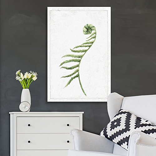Hand Drawn Green Slim Tree One Sided Leaf Series Artwork