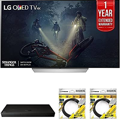 LG OLED55C7P C7P OLED 4K HDR Smart TV (2017 Model) w/ Blu-ray Player Bundle Includes, LG (UP970) 4K Ultra-HD Blu-ray Player w/ Multi HDR, 1 Year Extended Warranty & 2x 6ft. HDMI Cable