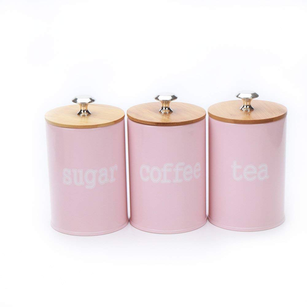 Hot Sale X022S Set of 3 Metal Food Storage Tin Canister/Jar/Container with Bamboo Lid (pink)