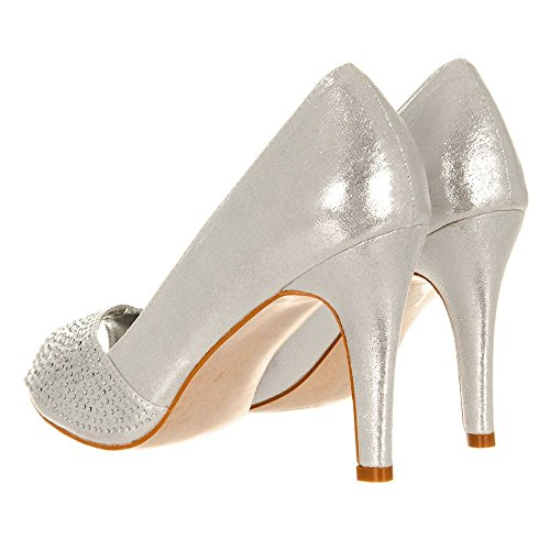 Diamante JOY Medium Heel Open Toe Silver Shoe UI6Uf