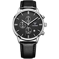 CADISEN Men's Chronograph Quartz Wrist Watches with Analogue Display Date Indicator and Genuine Leather Strap
