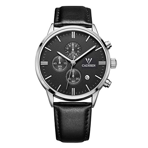 CADISEN Mens Chronograph Quartz Wrist Watches with Analogue Display Date Indicator and Genuine Leather Strap