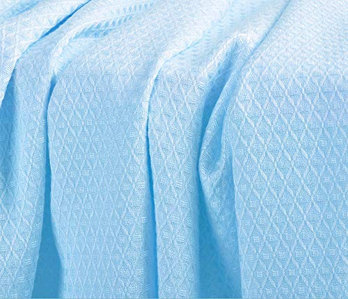 DANGTOP Air Conditioning Cool Blanket with Bamboo Microfiber- All Seasons Thin Quilt for Adults and Teens(79X91 inches,Large Blue).