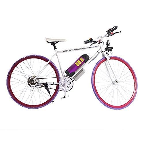 ELECTRIC Fixie Bike 350W 33MPH Alien Motor Wheels TM (WHITE/PURPLE/CHERRY/PURPLE)