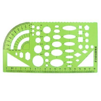 Papelaria Escola DealMux medição Molde do círculo Régua Guia Verde para Estudantes