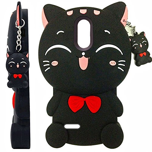 LG K10 2018 Case, LG K30 Case, LG Premier Pro/K10 Alpha 2018, SKTGSLAMY 3D Black Lucky Fortune Cat Kitty with Cute Bow Tie Silicone Rubber Phone Case Cover for LG K10 2018 (Black)