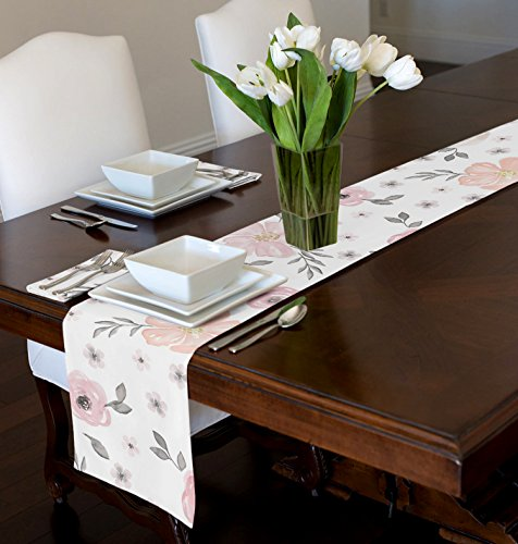 - A LuxeHome Blush Pink, Grey and White Shabby Chic Watercolor Rose Floral Table Runner Mat Topper 12