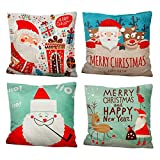 iMucci 4 Packs 18 X 18 Inch Merry Christmas Square Pillowcases - Holiday Decoration Santa Claus Pillow Cover (Cartoon)
