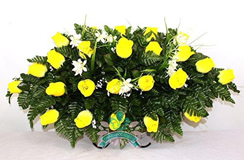 - Beautiful XL Yellow Roses Cemetery Tombstone Saddle Arrangement