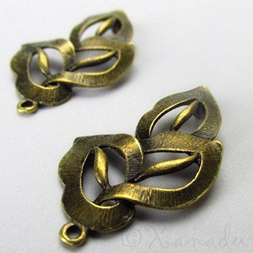 OutletBestSelling Pendants Beads Bracelet Bronze Leaf Charms Wholesale Antiqued Bronze Connectors - Bronze Dark Leaf