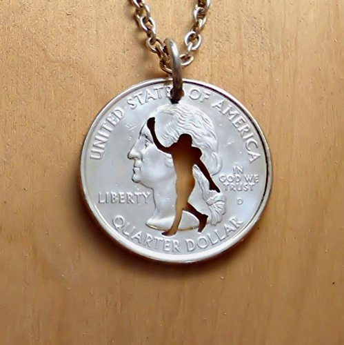 [Football Pendant Necklace or Keychain Keyring Cut in a US Quarter] (Touchdown Adult Costumes)
