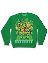 Teenage Mutant Ninja Turtles Fight Stance Adult Green Ugly Christmas Sweatshirt