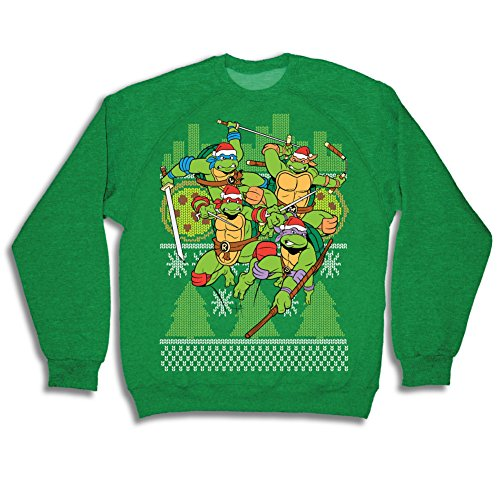 amazoncom teenage mutant ninja turtles fight stance adult green ugly christmas sweatshirt clothing