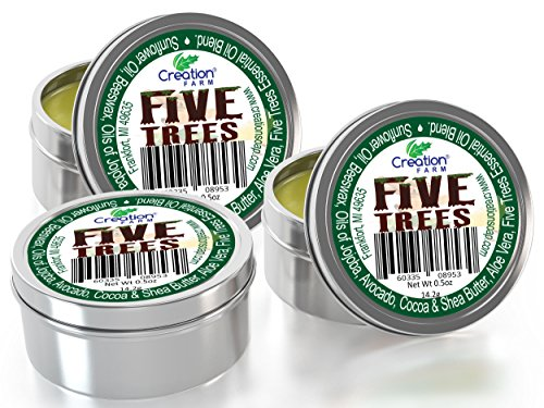 Five Trees  Lip Balm with Cinnamon, Frankincense, Clove, Lemon, Eucalyptus and Rosemary  Essential Oils 1.5 oz (3 half oz Tins Pack) for Moisturizing Lips, for Colds, Cold Sores, Cleansing