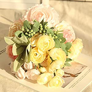 Gotian Multi Color Phantom Rose Peony Top Silk Flowers Bouquet Single Decor Wedding ~ Classic European Style, High Realistic Appearance ~ Perfect for Bedroom, Drawing Room, Hotel 66