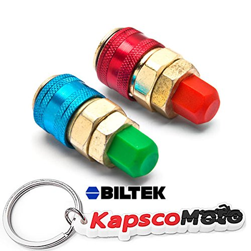 Biltek A/C R134a Quick Coupler Adapter Car High & Low Side HVAC SAE Male Flare Fitting + KapscoMoto Keychain