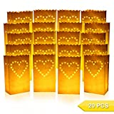 Go Luminary Bags | Special 20 Pcs Luminary Bags with Big Heart | Durable and Reusable Fire-Retardant Cotton Material | Superb for Wedding, Valentine, Engagement, or Marriage Proposal | White | 326.5