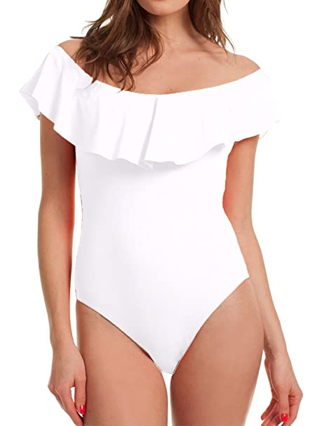 462966d1a6 Dasbayla Off Shoulder with Ruffle Bodysuit Women s White Leotards Rompers  Jumpsuits S