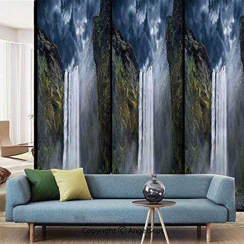 AngelSept Decorative Privacy Window Film,Waterfall and Grand Cliffs in Northern America Force of Nature Art Print Decorative,W15.7xL63in,No Glue Static Cling Glass Sticker,Green Blue White