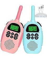 Kids Walkie Talkies, Speelgoed voor 3 4 5 6 7 8 9 10 Jaar Oude Jongens, 2 KM lange afstand, spion speelgoed voor jongens, walkie talkies oplaadbaar, met Backlit LCD Zaklamp, Beste speelgoed verjaardagscadeaus (2 stuks) (blauw & roze)
