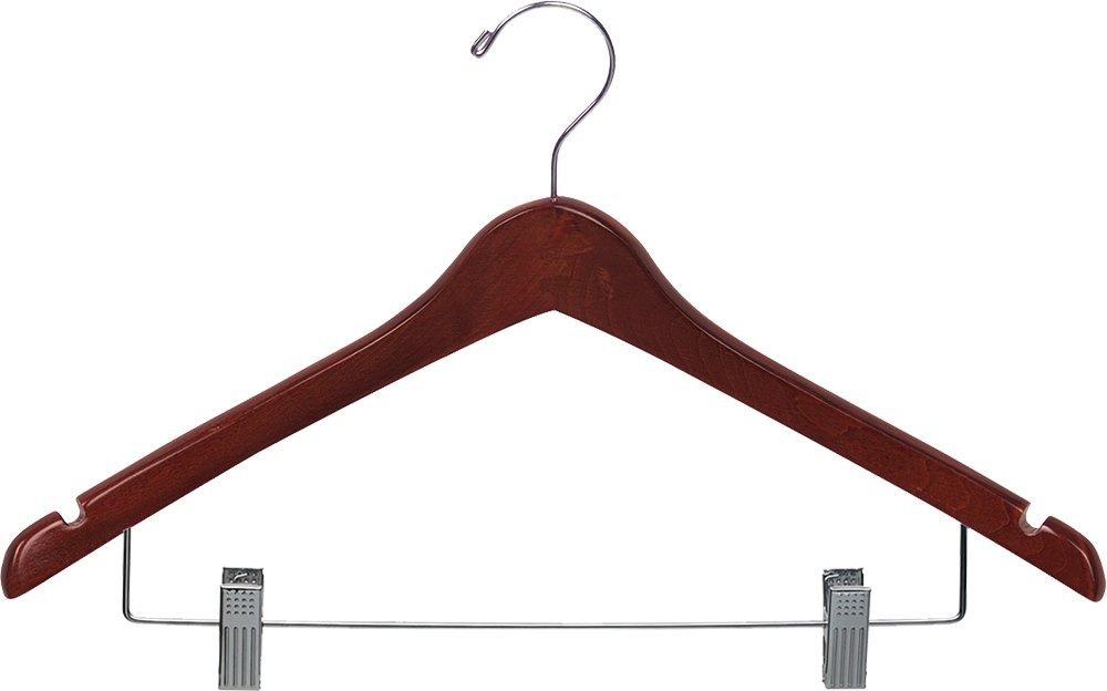 The Great American Hanger Company Wood Curved Combo Hanger w/Adjustable Cushion Clips, Box of 100 17 Inch Wooden Hangers w/Walnut Finish & Chrome Swivel Hook & Notches for Shirt Jacket or Dress