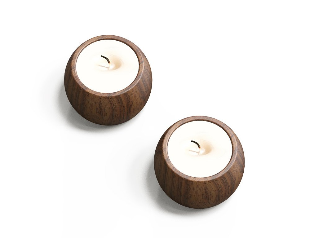 Natural Black Walnut Votive Candle Holders centerpiece – 2.12'' Diameter, Ideal for dinner, Movie at Home, Spa, and Aromatherapy, Incense Cones, Party, Spa (Set of 1 or 2), without candle